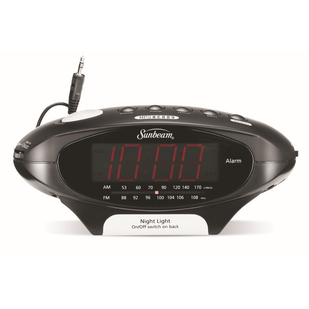 Sunbeam® AM/FM Clock Radio with Mp3 Plug and Night Light, Black