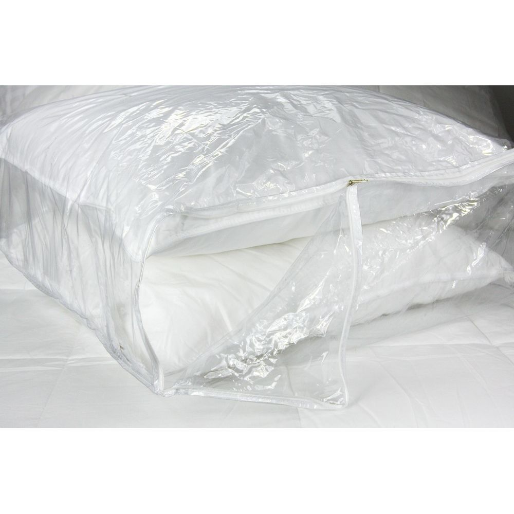 "Fairview® Blanket & Pillow Storage Bag, Small 15""W x 18""L x 6""H, Vinyl Zipper, Clear"