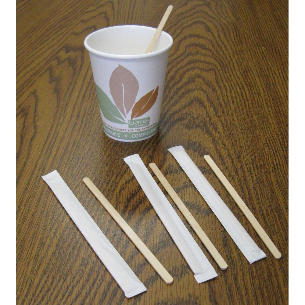 Coffee Stirrer, Wood, 5.5in, Individually Wrapped, 10,000/Case