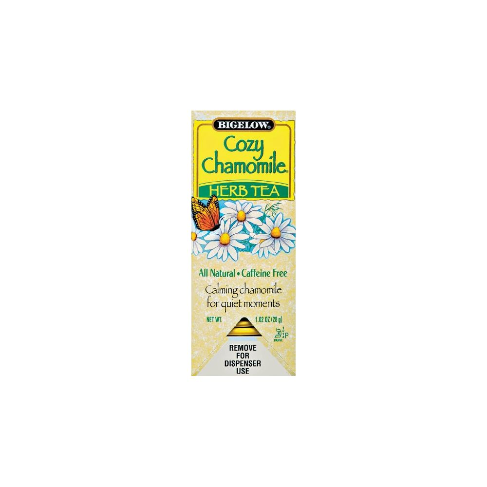 Bigelow® Cozy Chamomile Herbal Tea, Individually Foil Wrapped, Bilingual Label