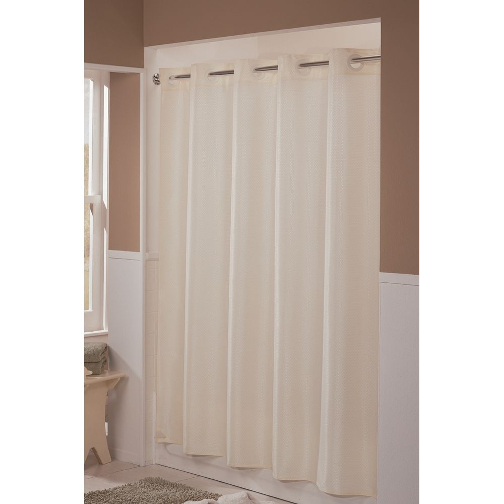 "Hookless® Englewood Shower Curtain, Polyester, 71""x77"", Beige"