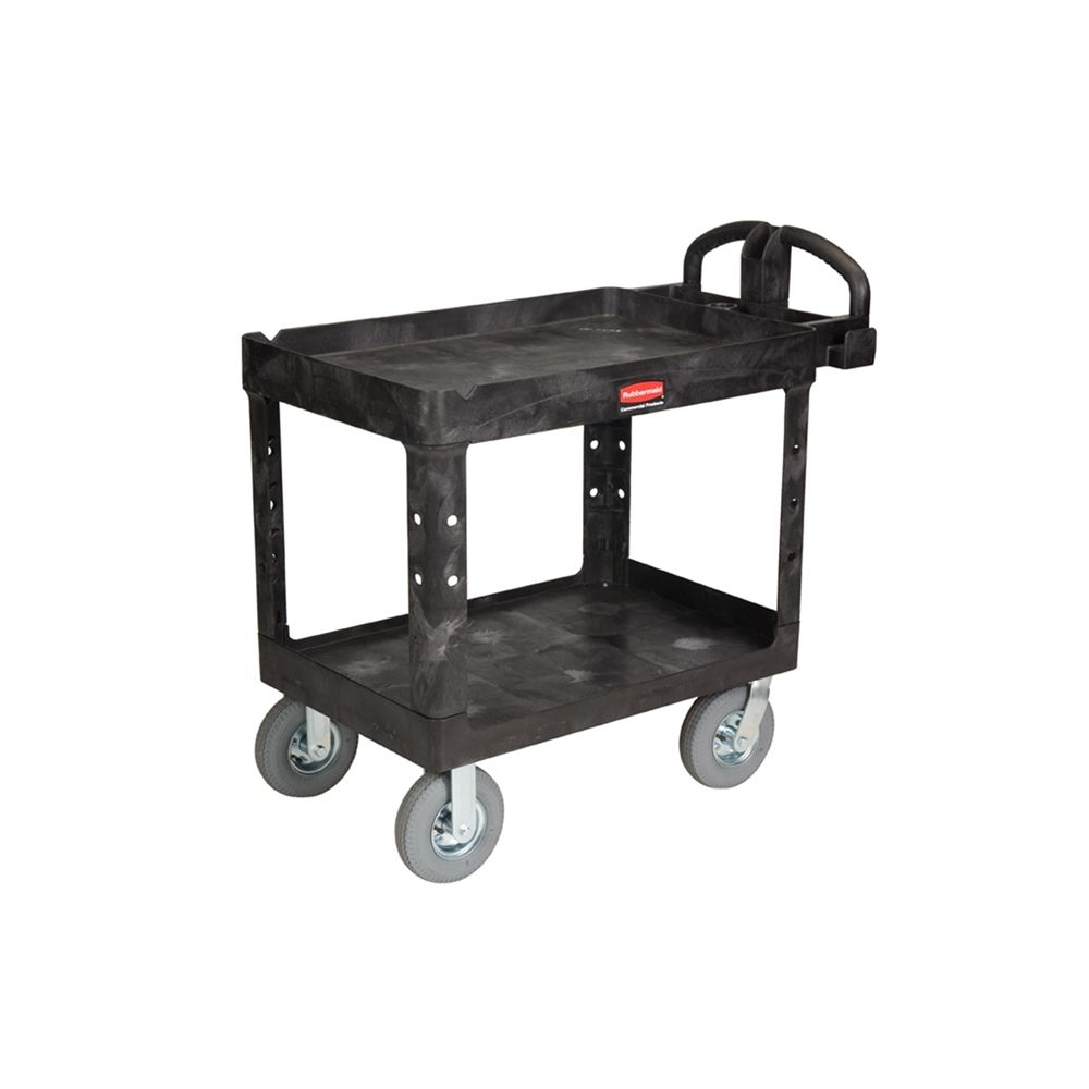 Rubbermaid® Heavy Duty Ergo Handle Utility Cart with Pneumatic Casters, Lipped Shelf, Medium, Black