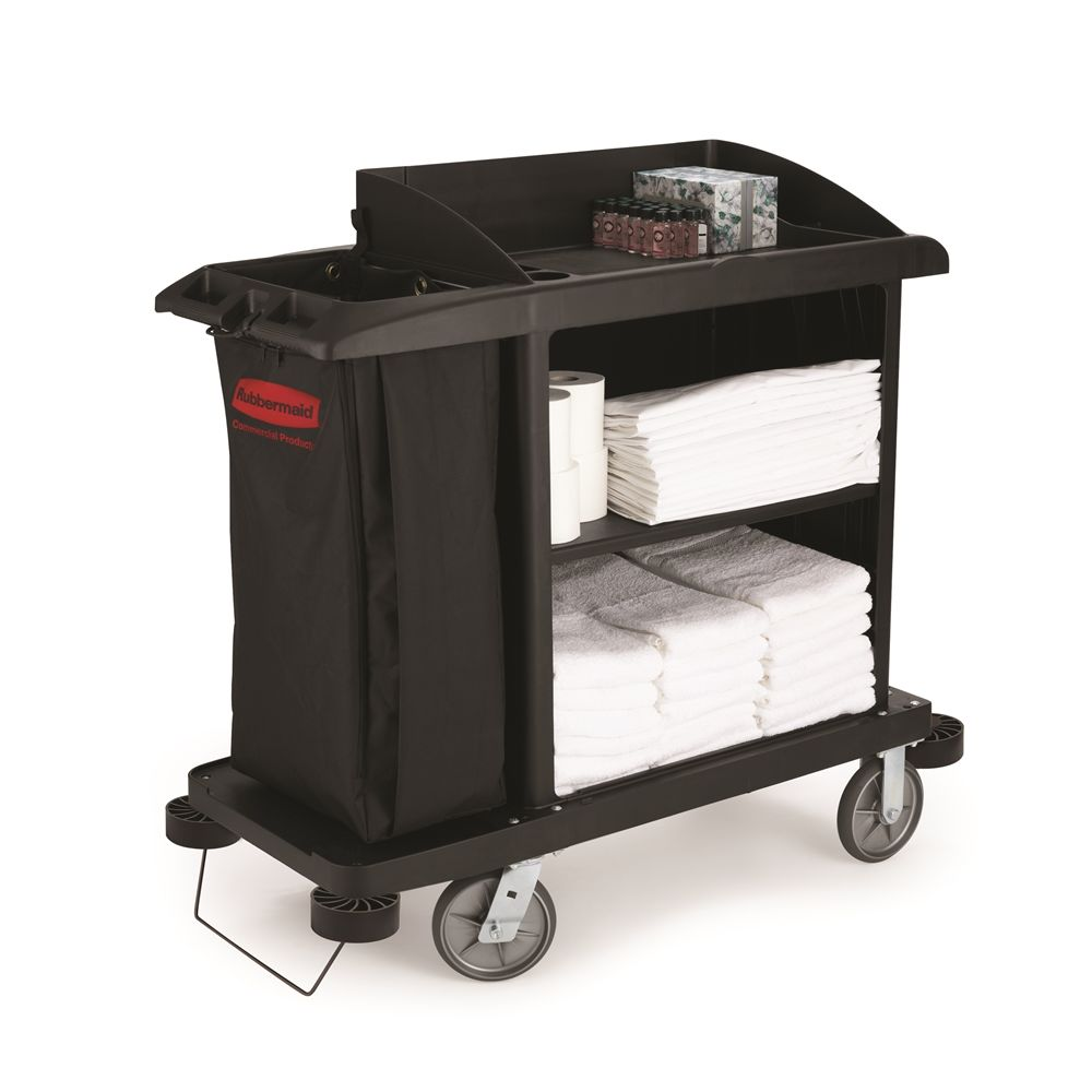 Rubbermaid® Compact Housekeeping Cart with Vinyl Bag, Bumpers & Vacuum Holder, 22Wx50Hx49L, Black