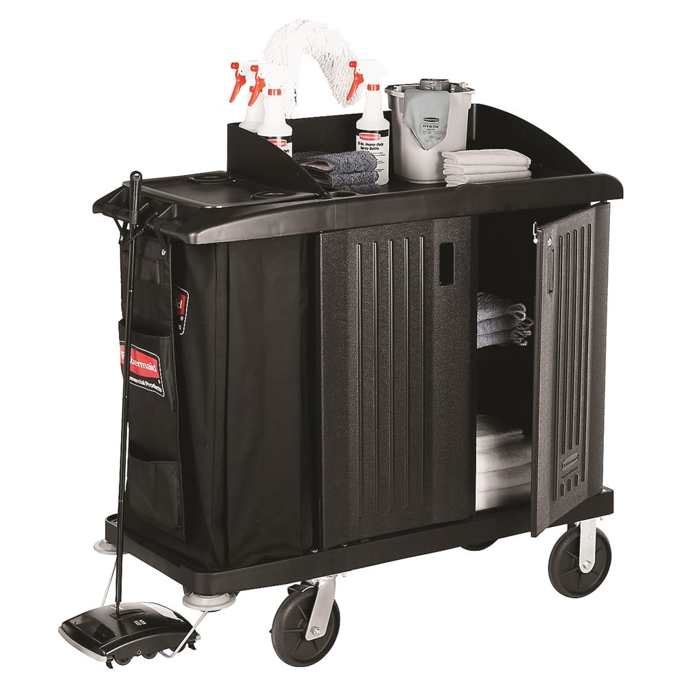 Rubbermaid® Executive Traditional Compact Housekeeping Cart with Doors 49x22x50, Black