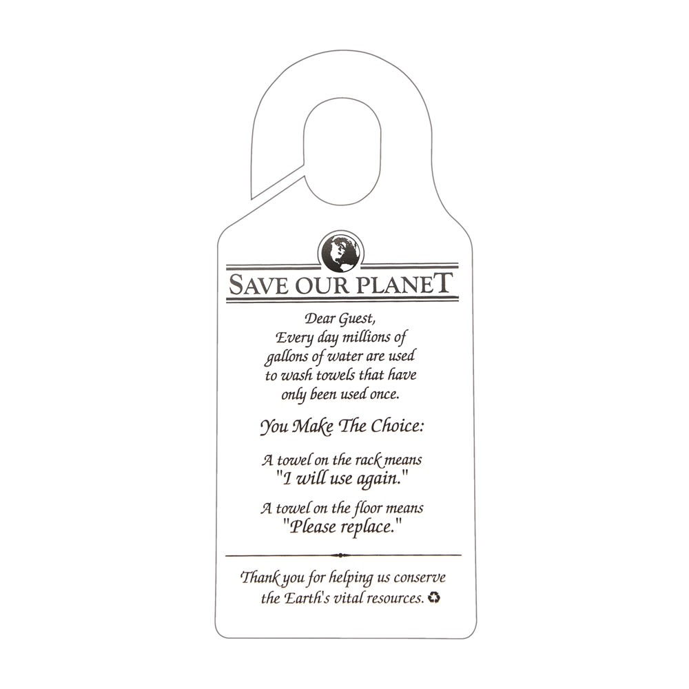 Sign - Save Our Planet/Towel Conservation Hanging Sign, 7.88x3.5, Off White/Black Print