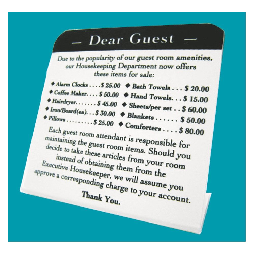 Sign - Dear Guest/10 Amenities Easel, 4Wx4H, White/Black Print