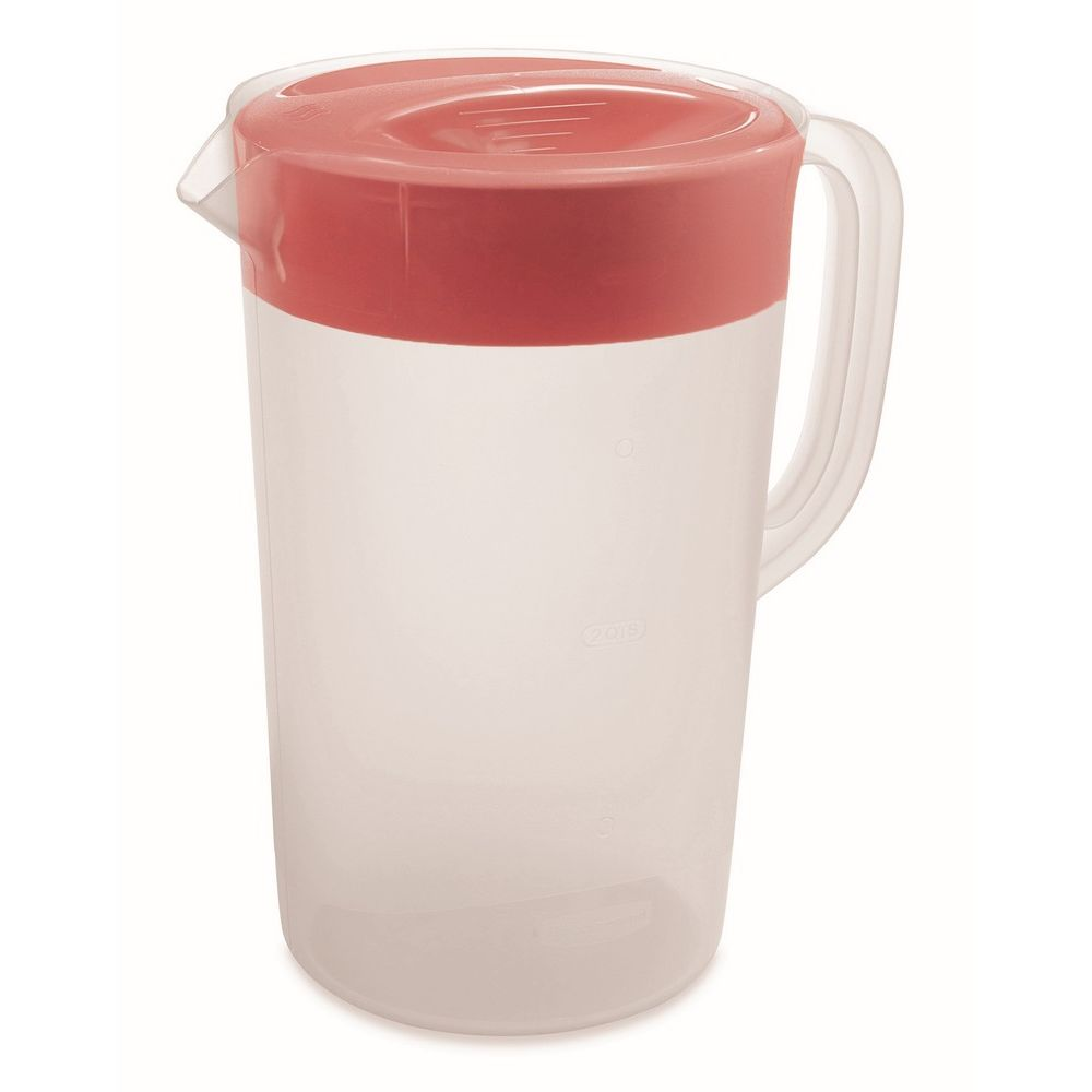 Rubbermaid® Plastic Pitcher with Lid, 2.25 Quarts, Clear/Red