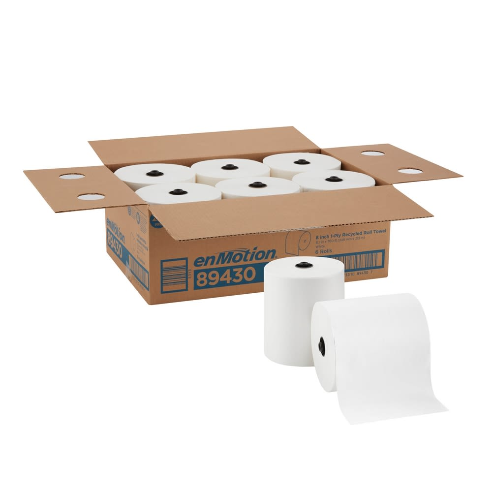 enMotion 8in Recycled Paper Towel Roll by GP PRO, White, 700 Feet Per Roll, 6 Rolls Per Case