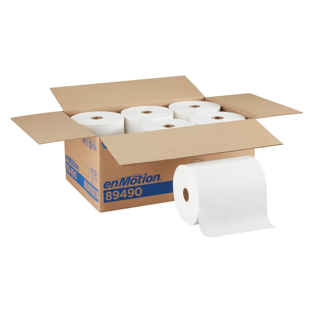 enMotion 10in Recycled Paper Towel Roll by GP PRO, White, 800 Feet Per Roll, 6 Rolls Per Case