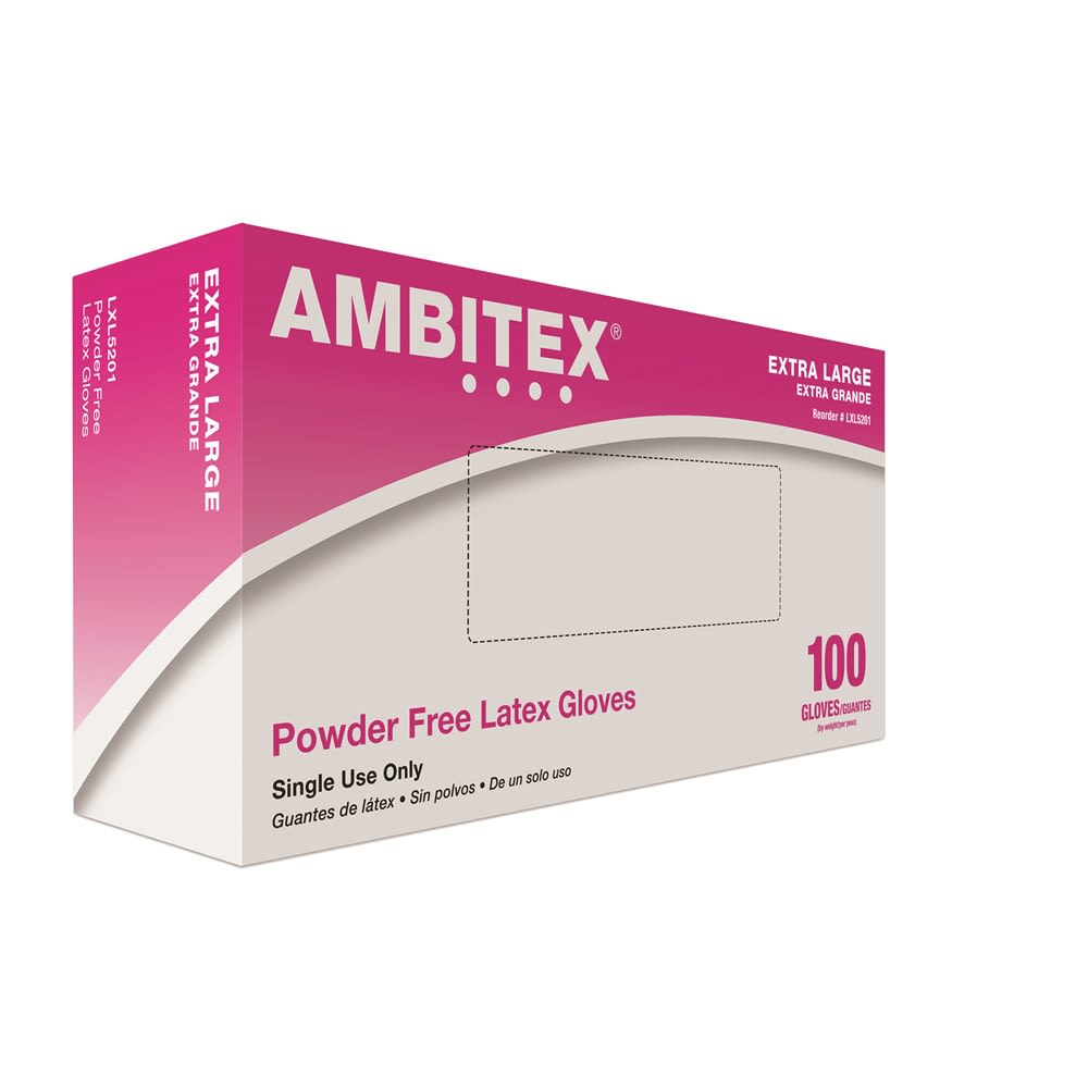 Ambitex® Latex Gloves Powder Free, Cream, Extra Large 100/box
