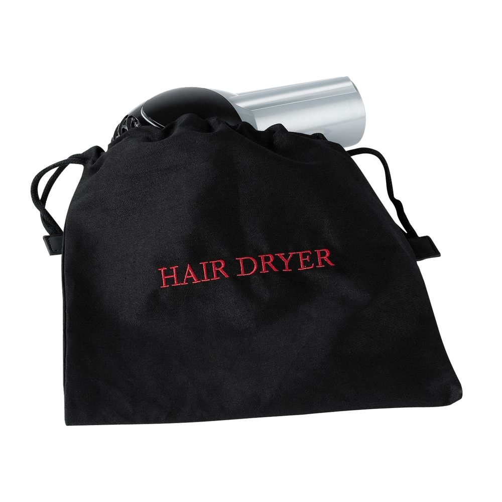 Black Hair Dryer Bag with Red Embroidery