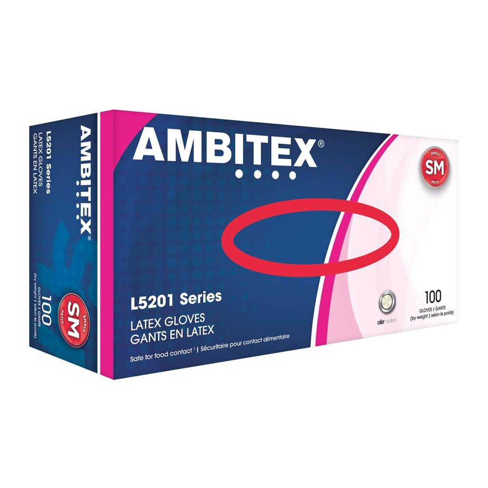 Ambitex® Latex Gloves Powder Free, Cream, Small 100/box