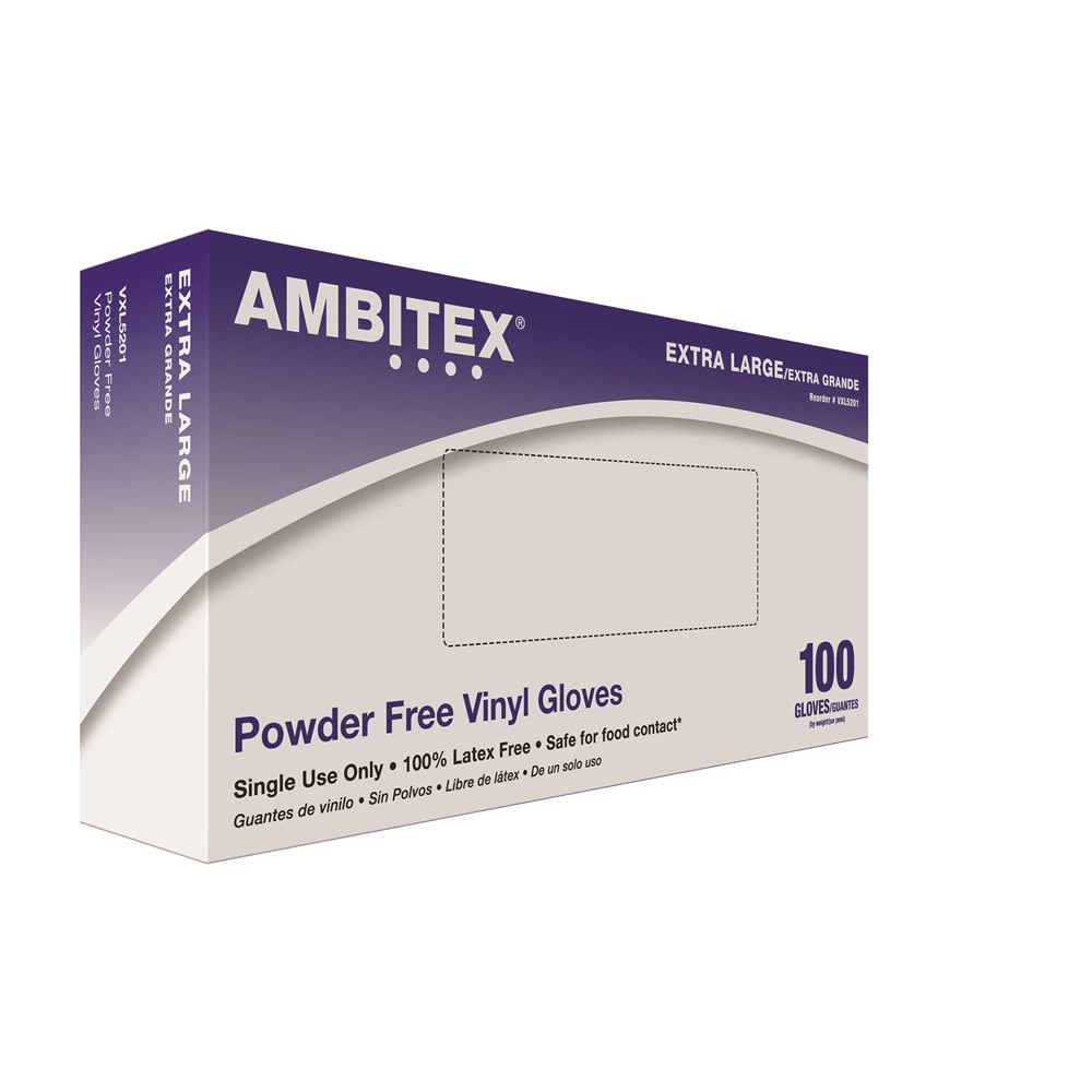 Ambitex® Vinyl Gloves Powder Free, Clear, Extra Large 100/box