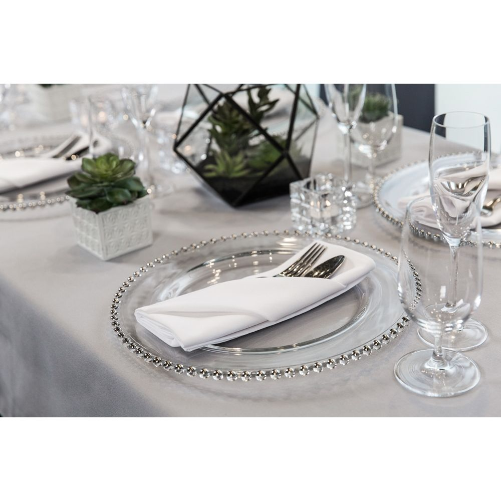 Classique Tablecloth, 90x90, Hemmed Edge, White