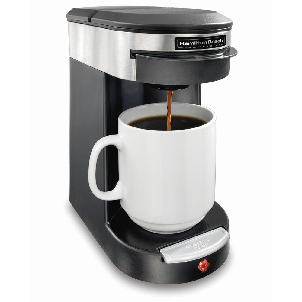 Hamilton Beach® 1-Cup Coffeemaker, Black with Stainless Steel
