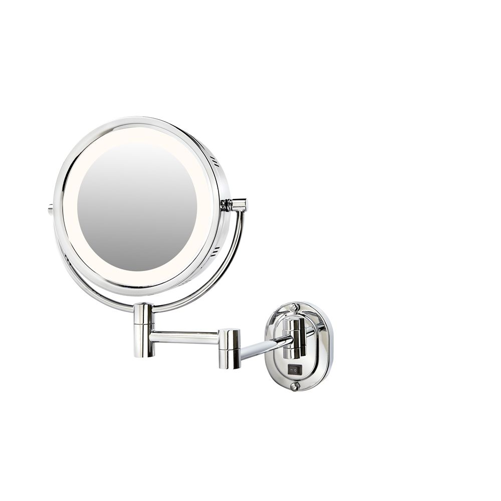 "Jerdon® Halo Light® Wall Mirror,  Regular/5x Magnification, 8"" Diameter, Direct Wire, Chrome"