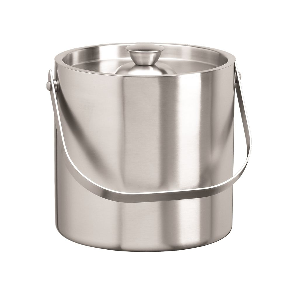 1.5 Quart Round Ice Bucket with Lid and Handle, Brushed Stainless Steel