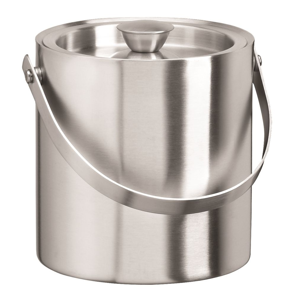 2.5 Quart Round Ice Bucket with Lid and Handle, Brushed Stainless Steel