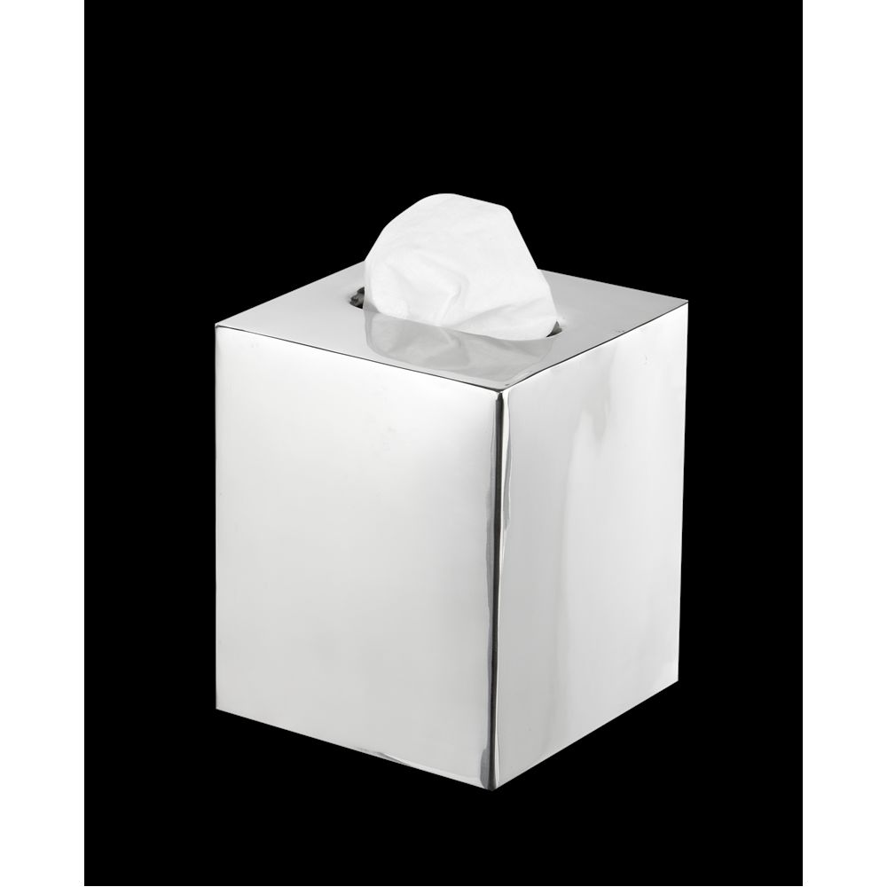 Basic Collection, Boutique Tissue Box Cover, Polished Stainless Steel
