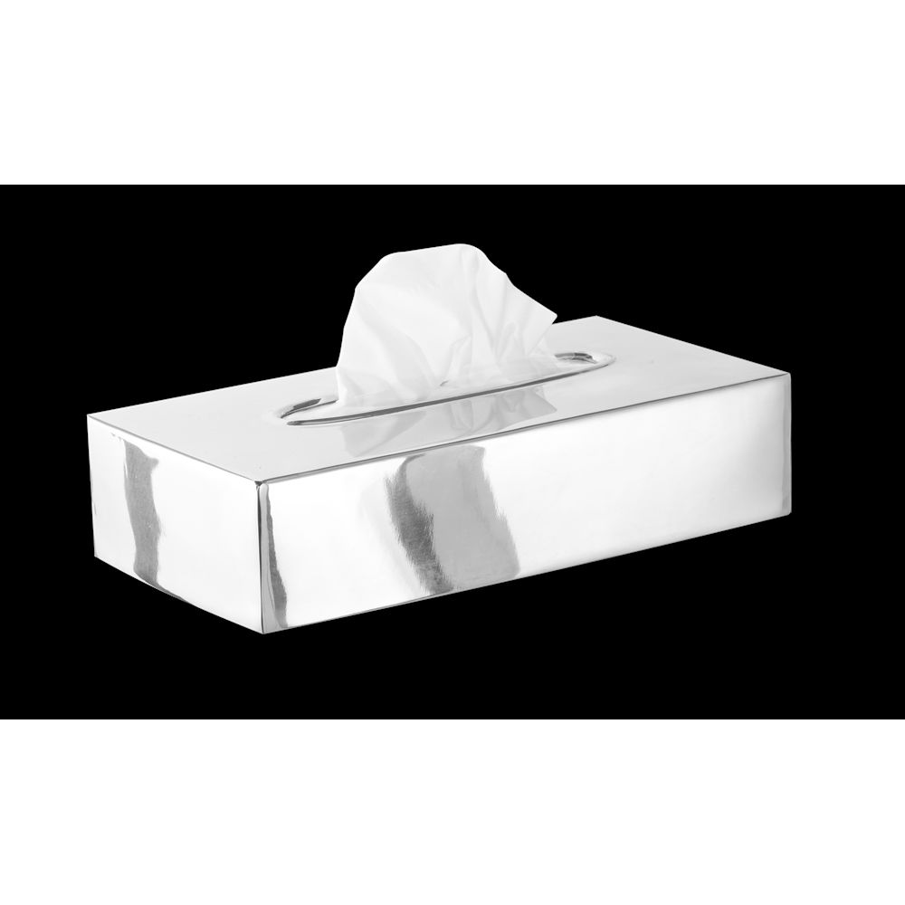 Basic Collection, Flat Tissue Box Cover, Polished Stainless Steel
