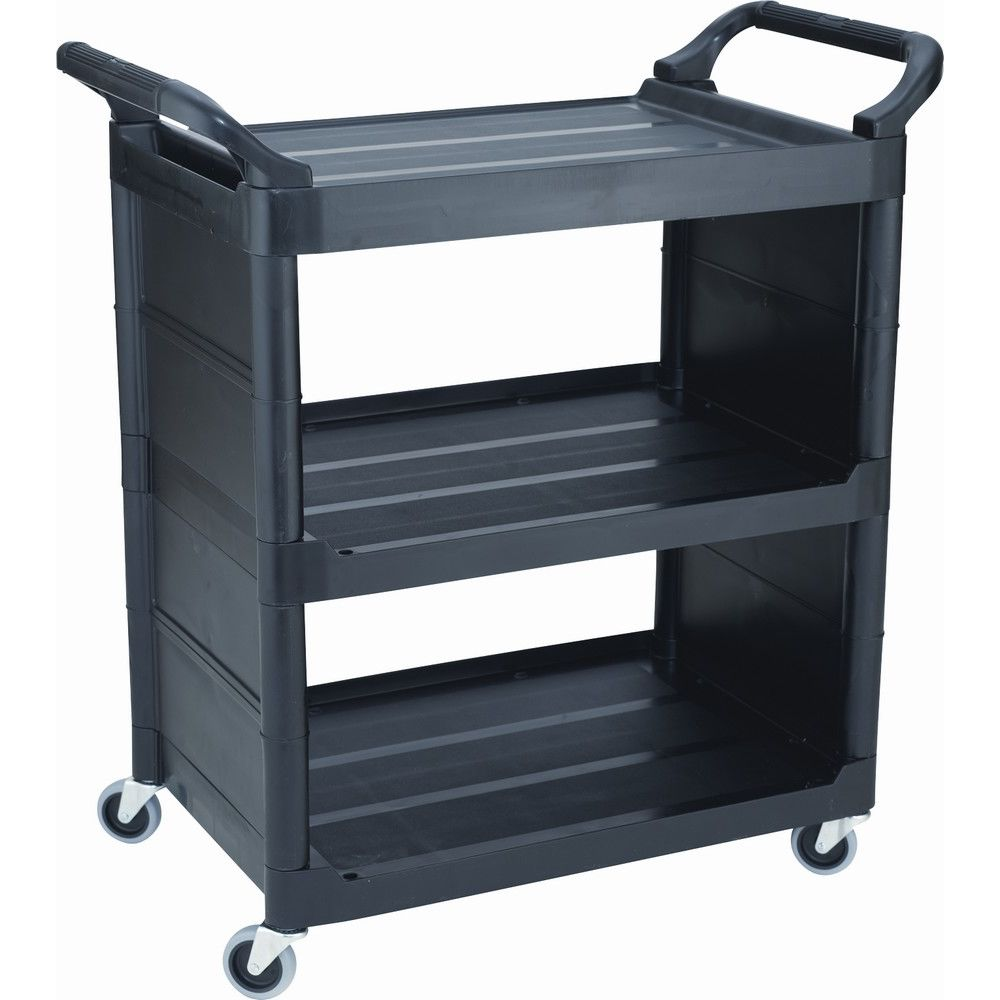 Rubbermaid® Service Cart with 3 In. Swivel Casters and End Panels, Black