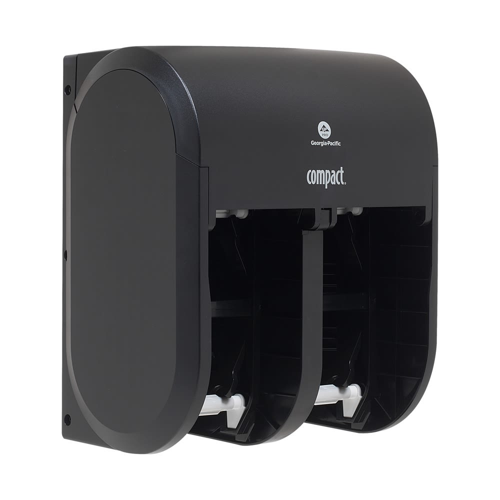 Compact 4-Roll Quad Coreless High-Capacity Toilet Paper Dispenser by GP PRO, Black