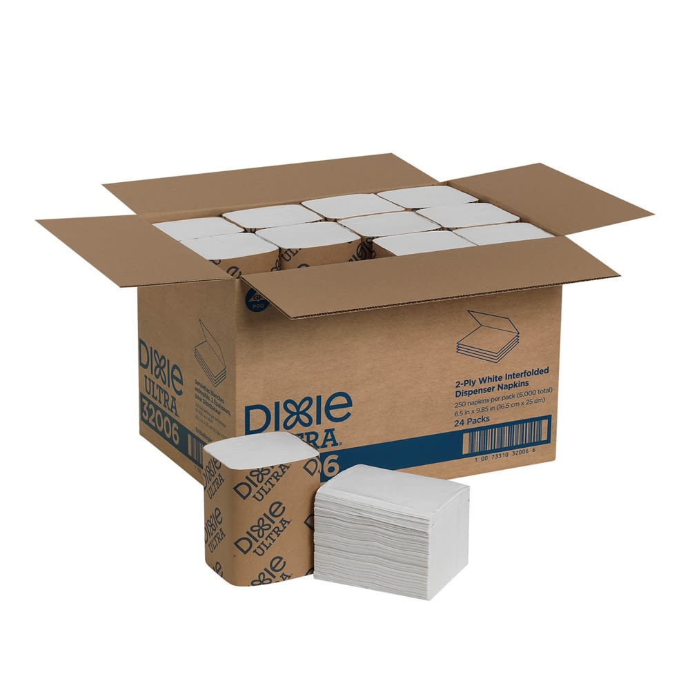 Dixie Ultra Interfold 2-Ply Napkin Dispenser Refill by GP PRO, White, 250 Napkins Per Pack