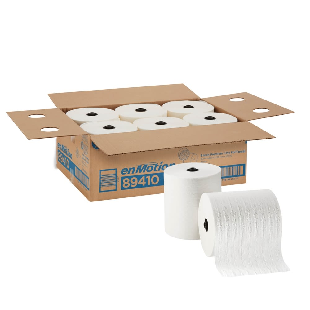 enMotion 8in Premium Paper Towel Roll by GP PRO, White, 425 Feet Per Roll, 6 Rolls Per Case