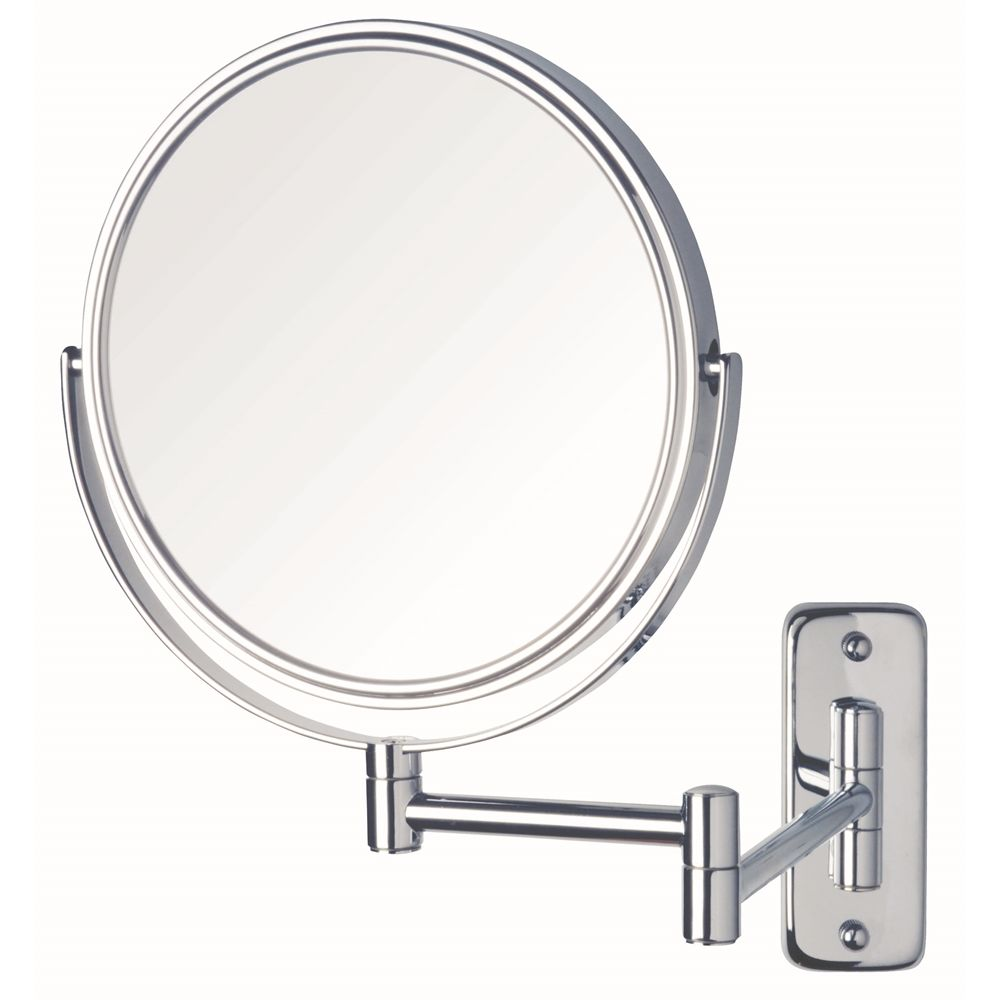 "Jerdon® Mirror, Dual 5x Magnification, 8"" Diameter, Wall Mounted, Chrome Finish"
