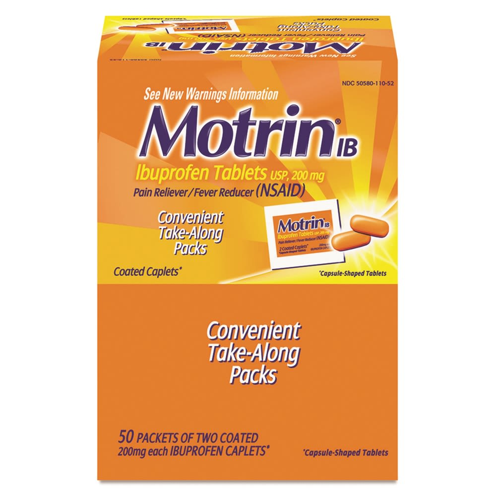 Motrin® IB Pain Reliever, Single-Dose Packets, 50 Packets of 2 Each