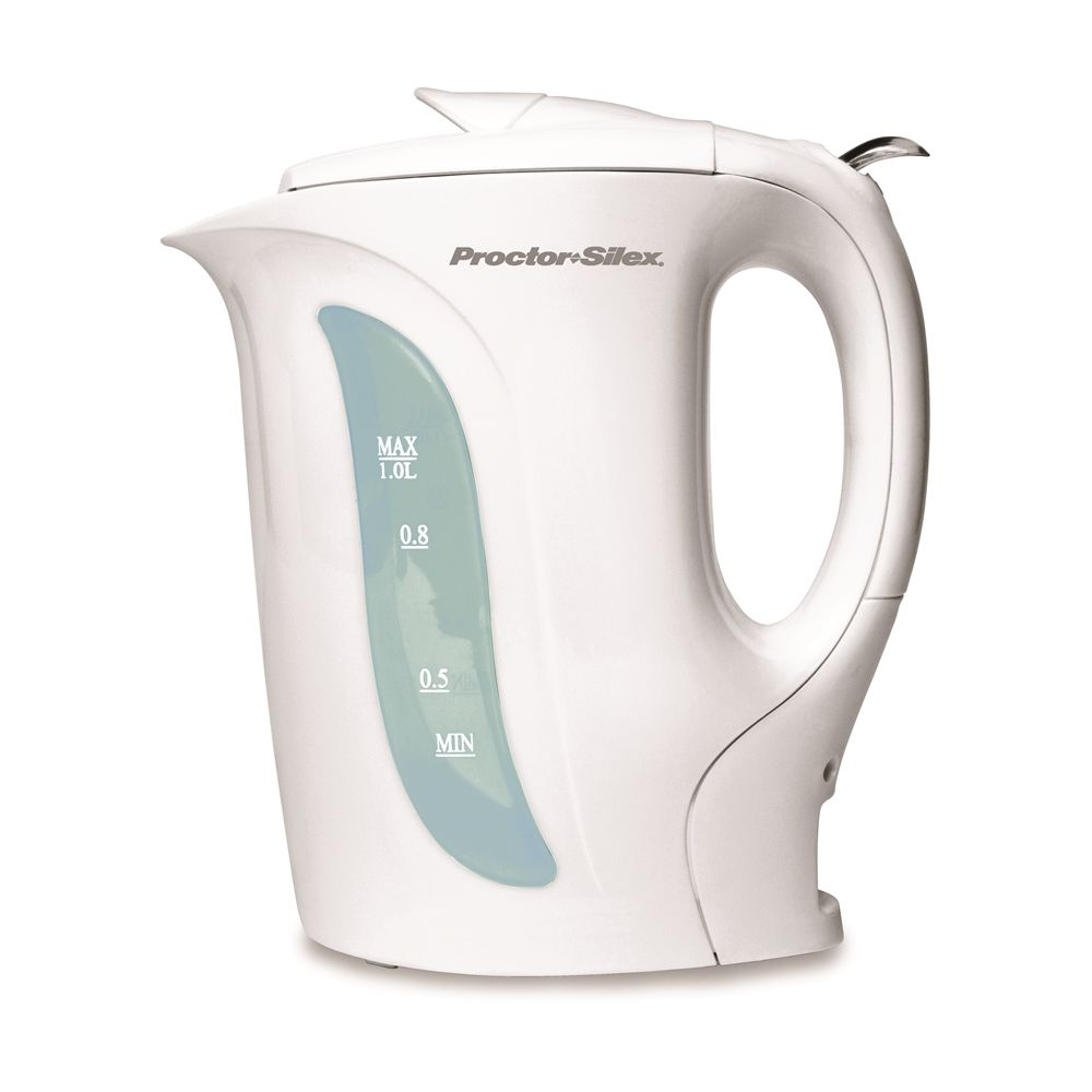 Proctor Silex® 1 Liter Electric Kettle with Auto Shut-Off, White