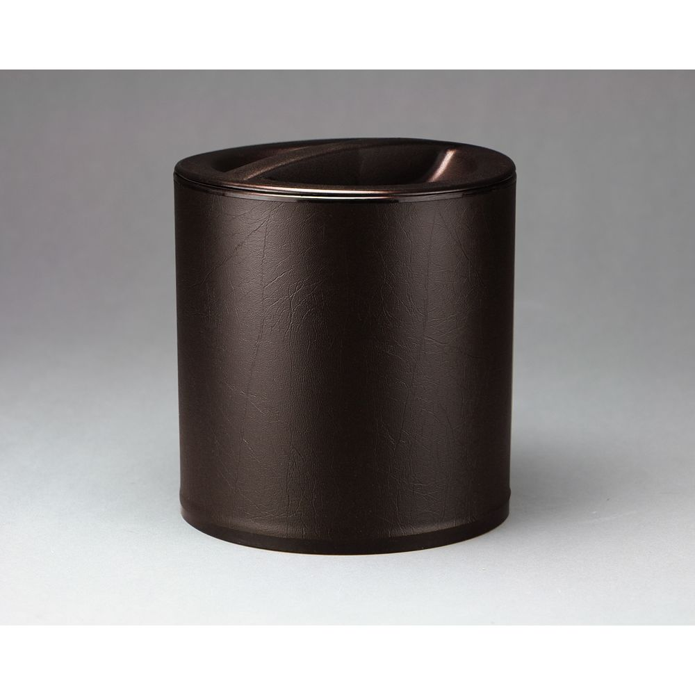 Design Line 3 Quart Round Leatherette Ice Bucket, Mocha Brown