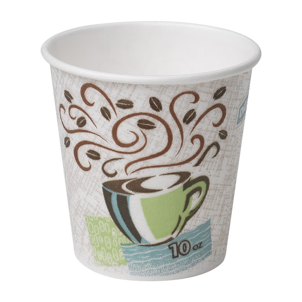 Dixie® PerfecTouch® Insulated Paper Hot Cup, Coffee Design 10oz, Unwrapped
