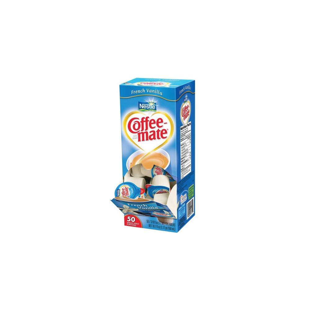 Nestle® Coffee-mate® Liquid Creamer, French Vanilla Flavor, Single Serve Mini Cups, 50 Creamers/Box