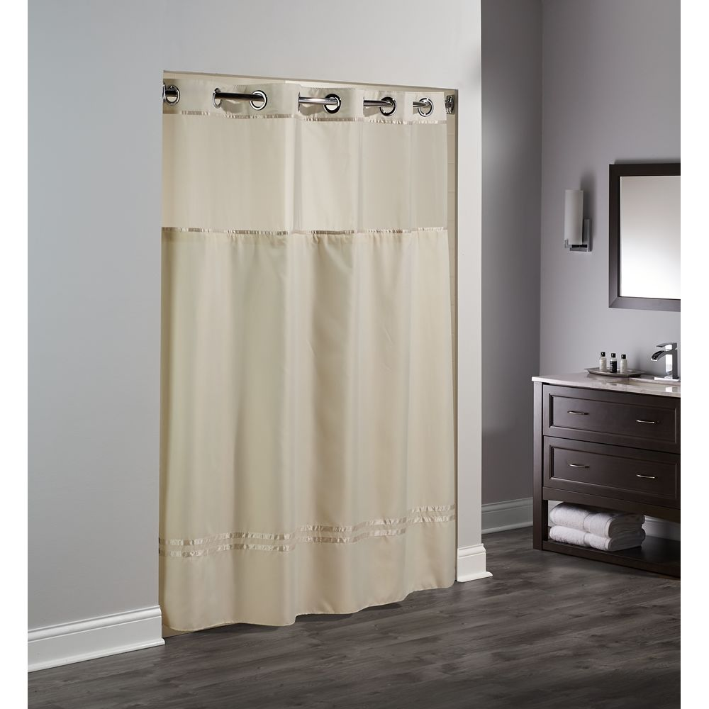 "Hookless® Escape Shower Curtain with Snap-in Liner, Polyester, 71""x74"", Beige/Beige"