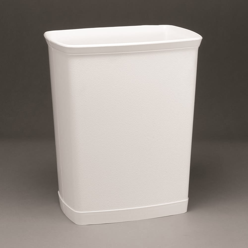 Design Line Wastebasket, 7 Quart Rectangular, White