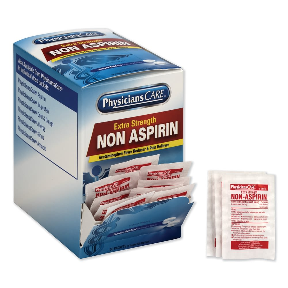 PhysiciansCARE® Extra Strength Non Aspirin, 50 Packets of 2 Tablets