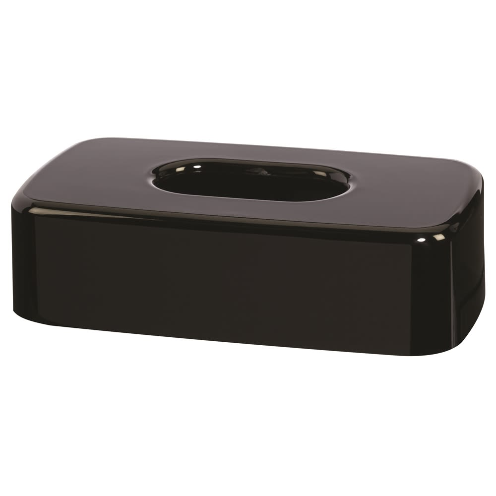 Celebrity Collection Plastic Flat Tissue Box Cover, Black
