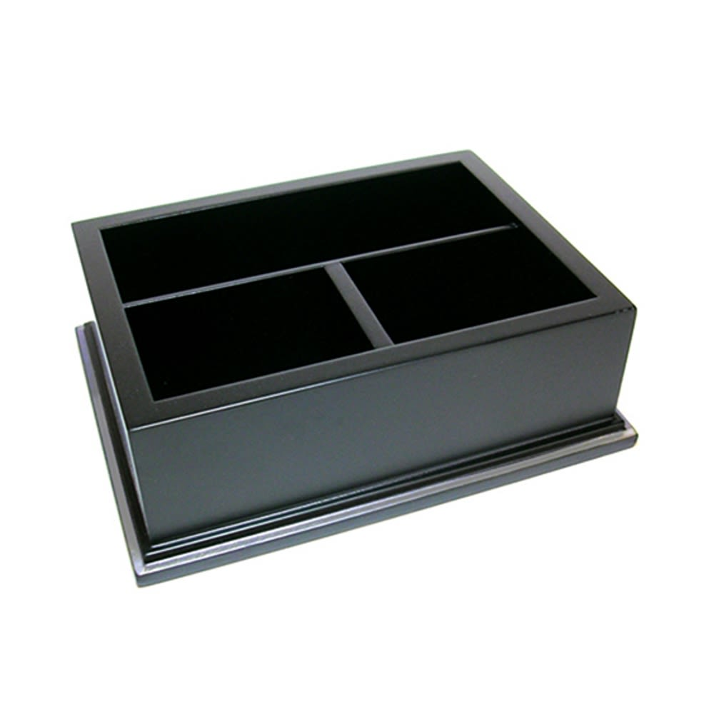 3 Compartment, Coffee Condiment Organizer, Black Wood with Silver Trim