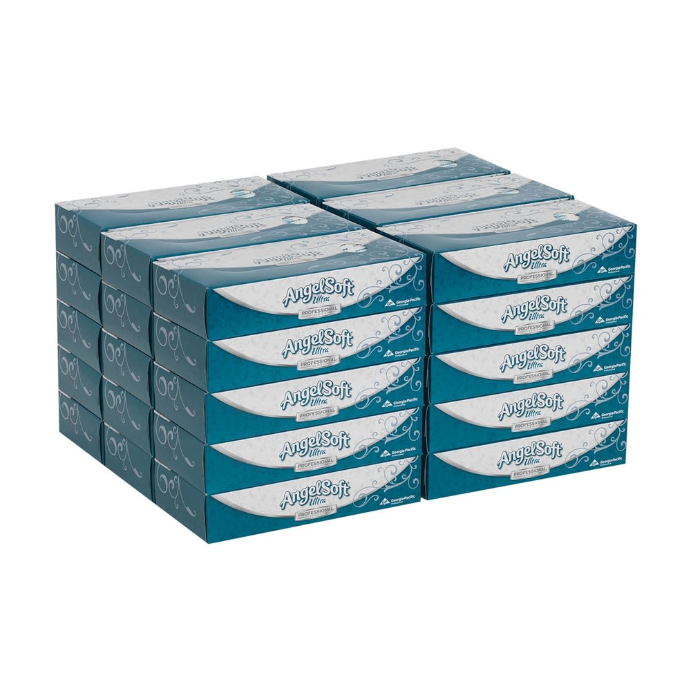 Angel Soft Ultra Professional Series Premium 2-Ply Facial Tissue by GP PRO, Flat Box, 125 Sheets