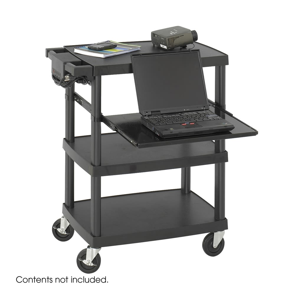 Safco® Multimedia Projector Cart, 3 Shelves, 27.25 W x 18.75 D x 34.75 H, Black