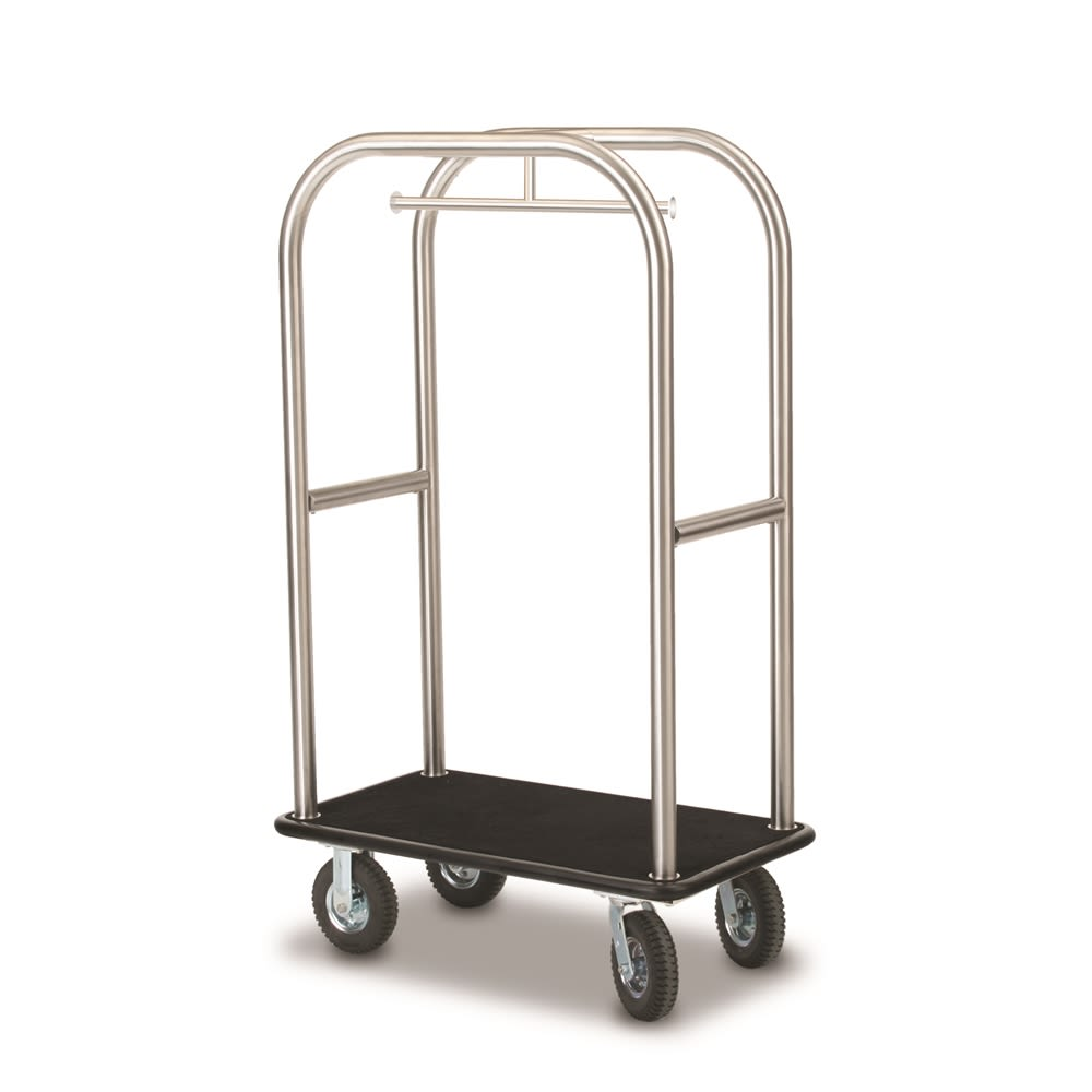 "Deluxe Luggage Cart, 42.5""Lx24""Wx68""H, Brushed Stainless Steel, Black Carpet & Bumper"