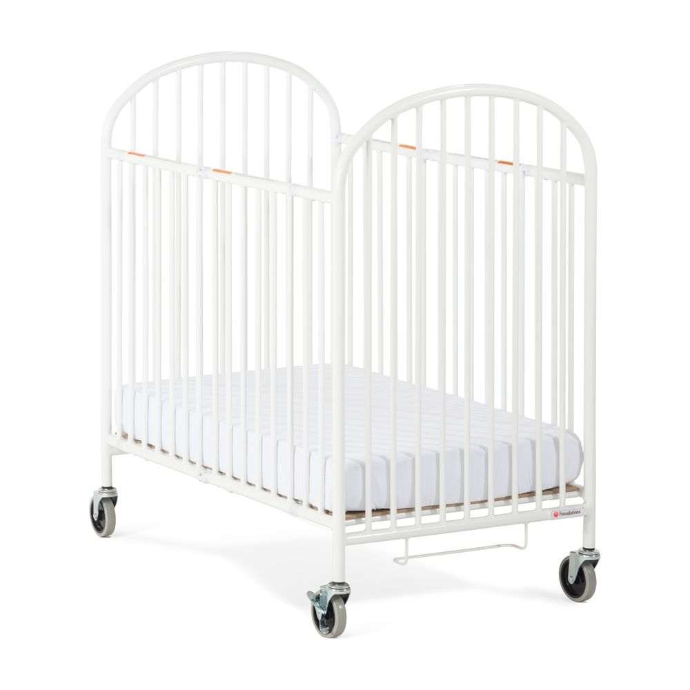 Foundations® Pinnacle Compact Folding Crib with Professional Series 4in Foam Mattress, White
