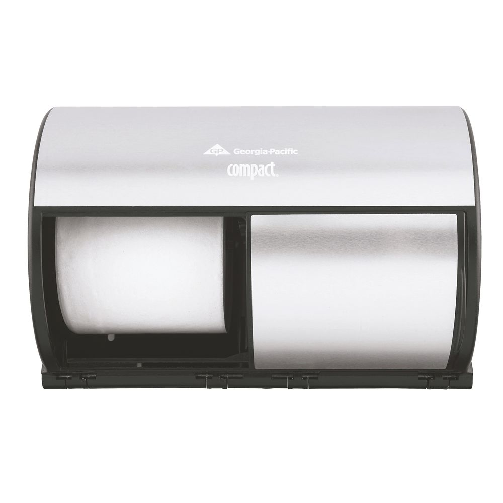 Compact 2-Roll Side-by-Side Coreless High-Capacity Toilet Paper Dispenser by GP PRO, Faux Stainless