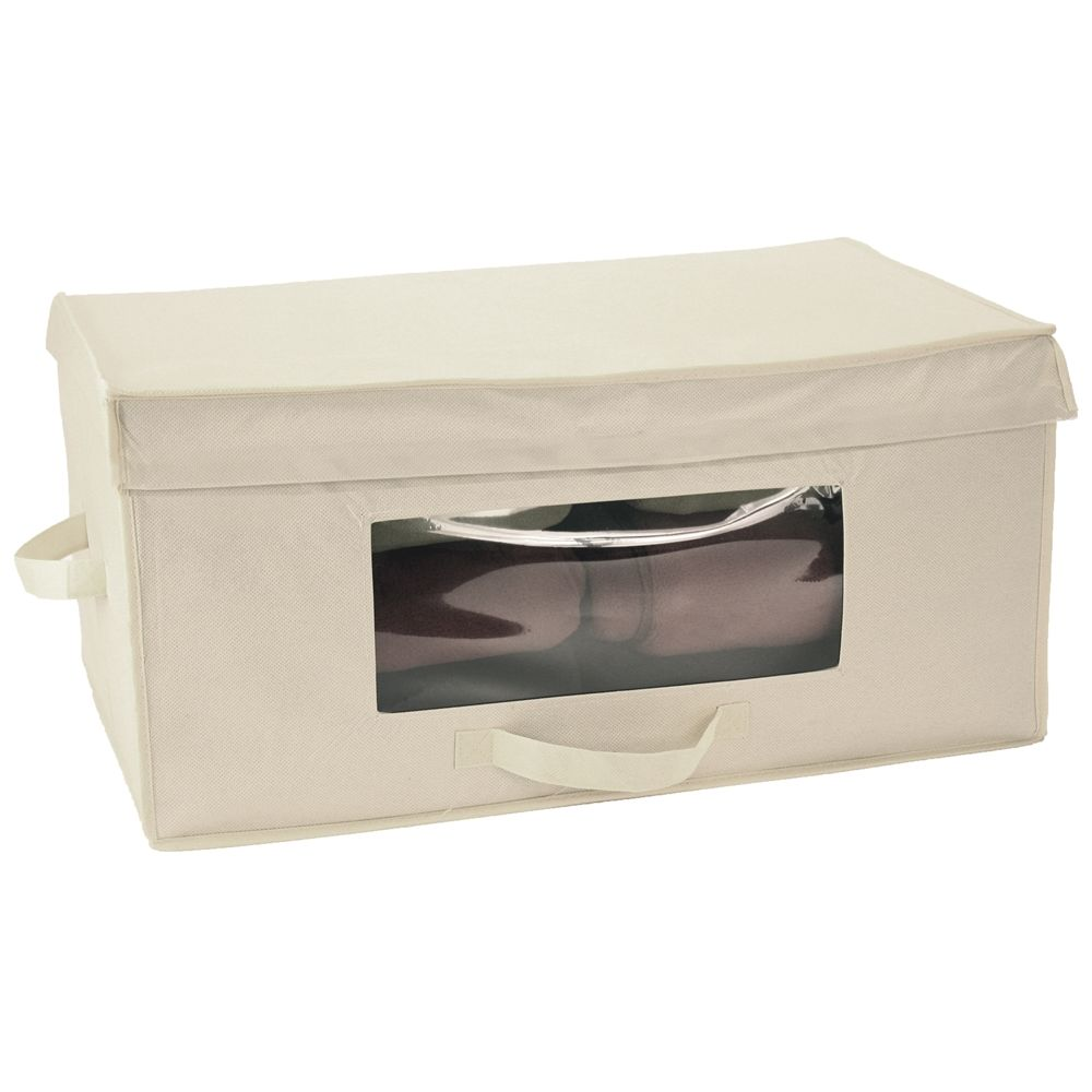 Fabric Blanket Box with Window & Hinged Lid, Ivory