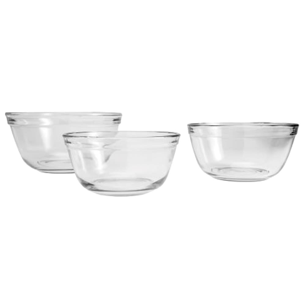 Anchor® 3 Piece Glass Mixing Bowl Set, 1/1.5/2.5 Quart, Clear