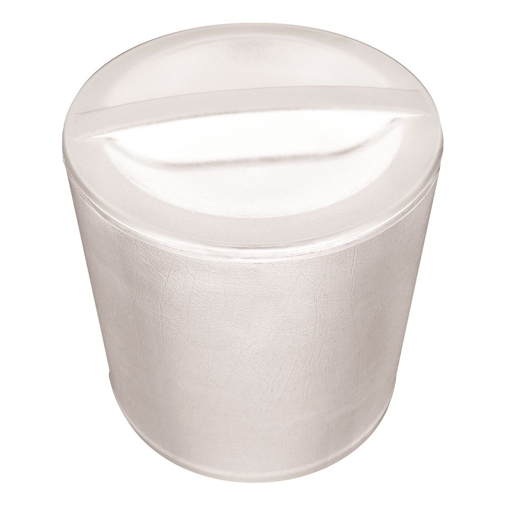 3 Quart Round Leatherette Ice Bucket, White