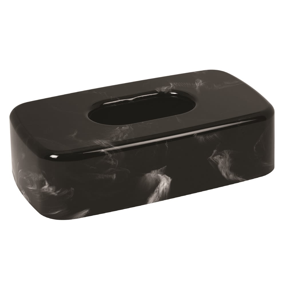 Celebrity Collection Plastic Flat Tissue Box Cover, Black Marble