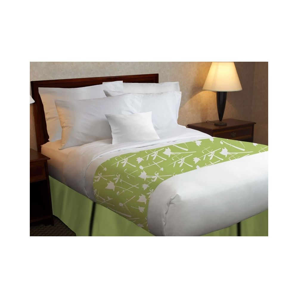 Beyond Impression Poly Decorative Top Sheet, Green Floral Print, Queen 96x120 CS, White
