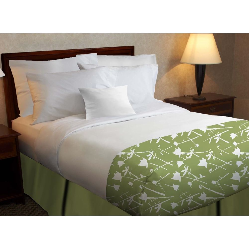 Beyond Impression Poly Decorative Top Sheet, Green Floral Print, King 114x120 CS, White